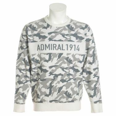 アドミラル Admiral メンズ カモ柄 ジャガード 長袖 クルーネック セーター ADMA1B1 2021年モデル ホワイト(00)