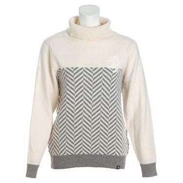 アドミラル Admiral レディース ロゴ刺繍 ヘリンボーン柄 長袖 タートルネック セーター ADLA189 2021年モデル ホワイト(00)