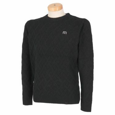 トラヴィスマシュー Travis Mathew メンズ 格子柄 ケーブル編み ウール混 長袖 クルーネック セーター 7AE020 2021年モデル ブラック(0BLK)