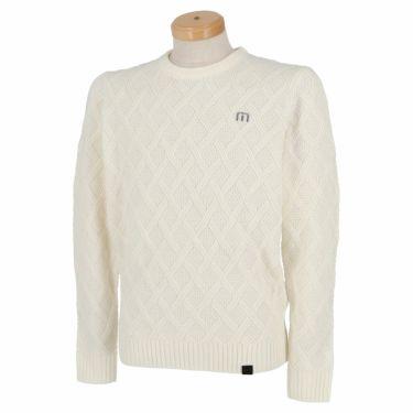 トラヴィスマシュー Travis Mathew メンズ 格子柄 ケーブル編み ウール混 長袖 クルーネック セーター 7AE020 2021年モデル ホワイト(1WHT)