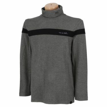 トラヴィスマシュー Travis Mathew メンズ ライン配色 起毛素材 長袖 タートルネックシャツ 7AE026 2021年モデル ヘザーグレー(9HGR)