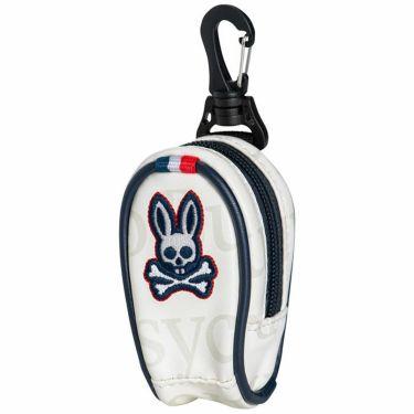 サイコバニー PsychoBunny ロゴ刺繍 ボールポーチ PBMG1FE3 00 ホワイト 2021年モデル ホワイト(00)