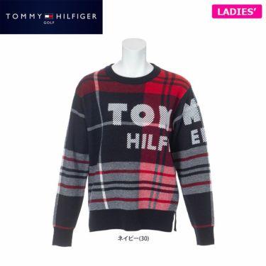 トミー ヒルフィガー ゴルフ レディース ロゴプリント チェック柄 長袖 クルーネック セーター THLA162 2021年モデル 詳細1