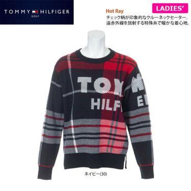 トミー ヒルフィガー ゴルフ レディース ロゴプリント チェック柄 長袖 クルーネック セーター THLA162 2021年モデル 詳細2