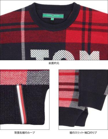 トミー ヒルフィガー ゴルフ レディース ロゴプリント チェック柄 長袖 クルーネック セーター THLA162 2021年モデル 詳細4