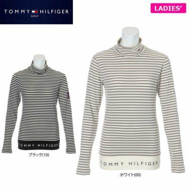 トミー ヒルフィガー ゴルフ レディース ロゴプリント ボーダー柄 長袖 ハイネックシャツ THLA168 2021年モデル 詳細1