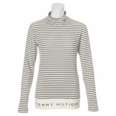 トミー ヒルフィガー ゴルフ レディース ロゴプリント ボーダー柄 長袖 ハイネックシャツ THLA168 2021年モデル ホワイト(00)