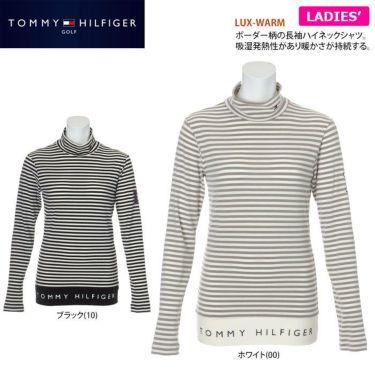 トミー ヒルフィガー ゴルフ レディース ロゴプリント ボーダー柄 長袖 ハイネックシャツ THLA168 2021年モデル 詳細2