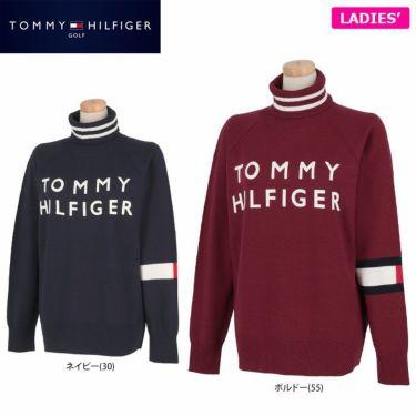 トミー ヒルフィガー ゴルフ レディース ロゴプリント 袖ライン 長袖 タートルネック セーター THLA174 2021年モデル 詳細1