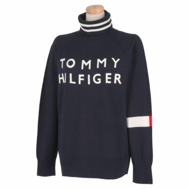 トミー ヒルフィガー ゴルフ レディース ロゴプリント 袖ライン 長袖 タートルネック セーター THLA174 2021年モデル ネイビー(30)