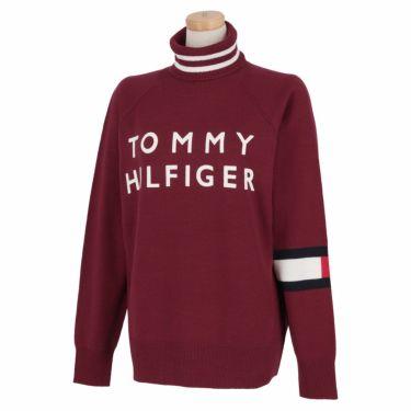 トミー ヒルフィガー ゴルフ レディース ロゴプリント 袖ライン 長袖 タートルネック セーター THLA174 2021年モデル ボルドー(55)