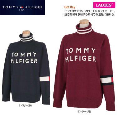 トミー ヒルフィガー ゴルフ レディース ロゴプリント 袖ライン 長袖 タートルネック セーター THLA174 2021年モデル 詳細2