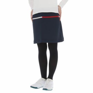 トミー ヒルフィガー ゴルフ レディース ロゴプリント ダンボールニット ストレッチ スカート THLA159 2021年モデル ネイビー(30)