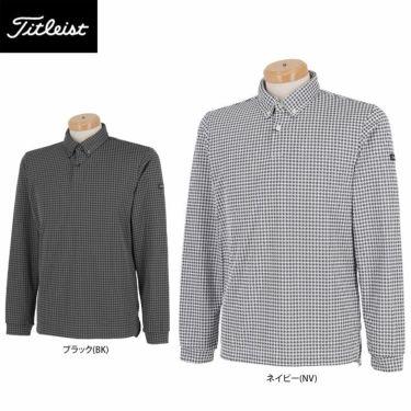 タイトリスト Titleist メンズ 千鳥格子柄 長袖 ボタンダウン ポロシャツ TWMC2102 2021年モデル 詳細1