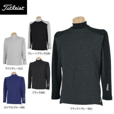 タイトリスト Titleist メンズ ロゴプリント ウール混 裏起毛 長袖 モックネックシャツ TWMC2106 2021年モデル 詳細1