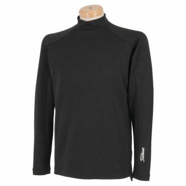 タイトリスト Titleist メンズ ロゴプリント ウール混 裏起毛 長袖 モックネックシャツ TWMC2106 2021年モデル ブラック(BK)